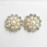 512401-201 Crystal Pearl Earring in Silver