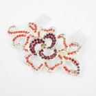 516085 Red in Silver Hair Comb