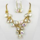 511154-201AB  Crystal Gold Necklace Set