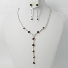 591141-108 Brown Crystal in Silver Necklace set