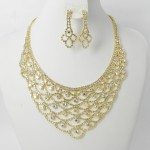 591429-201AB Clear Crystal in Gold Necklace set