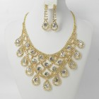 591430-201 Clear Crystal in Gold Necklace set