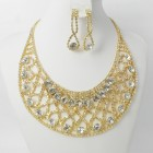 591431-201 Clear Crystal in Gold Necklace set