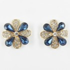 512354-217 Blue Crystal Earring in Gold