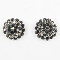 512396-302  Black Crystal Earring in Gun metal
