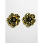 512158-202 Black Flower Sharp Earring in Gold