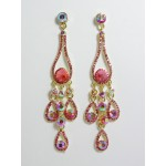 512141-209 Gold Crystal Earring in Pink