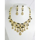 511115-202 Black Crystal Necklace Set in Gold