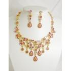 511115-212 Fushia Necklace Set in Gold