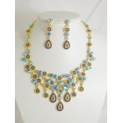 511115-215 Royal Blue Necklace Set in Gold