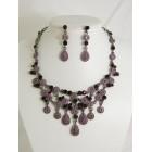 511115-305 Purple Crystal Necklace Set in Gun Metal