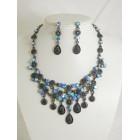 511115-317 Navy Crystal Necklace Set in Gun Metal