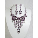 511110-105 Purple Necklace Set in Silver