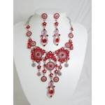 511110-107 Red Necklace Set in Silver
