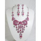 511110-109 Pink Necklace Set in Silver
