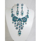 511110-113 Blue Zir. Necklace Set in Silver