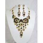 511110-202 Black Necklace Set in Gold
