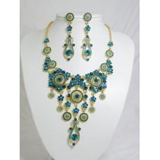 511110-213 Blue Zir. Necklace Set in Silver