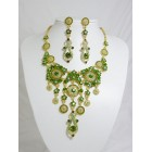 511110-218 Olivine Necklace Set in Gold