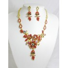 511118-207 Red Necklace Set in Gold
