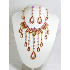 511084-207 Red Necklace Set in Gold
