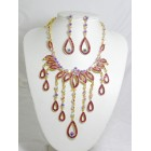 511084-212 Fushia Necklace Set in Gold