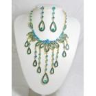 511084-213 Blue Zir. Necklace Set in Gold