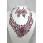 511123 Pink Crystal Necklace in Silver