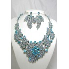 511123 Aqua Blue Crystal Necklace in Silver