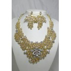 511123 Gold AB Crystal Necklace Set