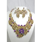 511123 Purple Crystal Necklace in Gold