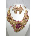 511123 Pink Crystal Necklace in Gold