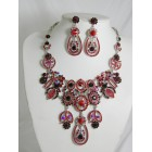 511127-107 Red Necklace Set in Silver