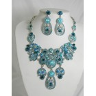 511127-113 Blue Zir. Necklace Set in Silver