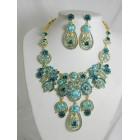 511127-213 Blue Zir. Necklace Set in Gold
