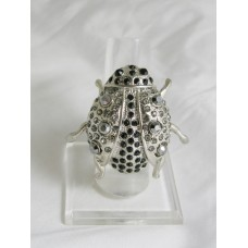 517268-102 Silver Stretch Bug Ring in Black