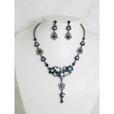 511076-317 Navy Rhinestone Necklace Set in Black